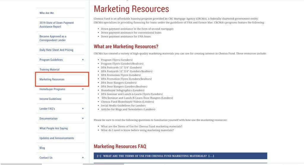 Marketing Resources Tab
